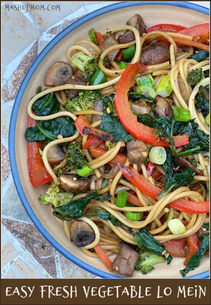 Easy Fresh Vegetable Lo Mein incorporates colorful veggies and satisfyingly slurpy noodles in an all-in-one vegan meal.