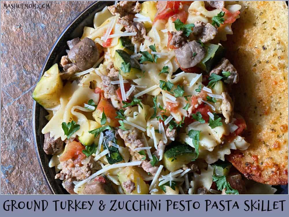 Deliciously fresh summer veggies in this Ground Turkey & Zucchini Pesto Pasta Skillet!