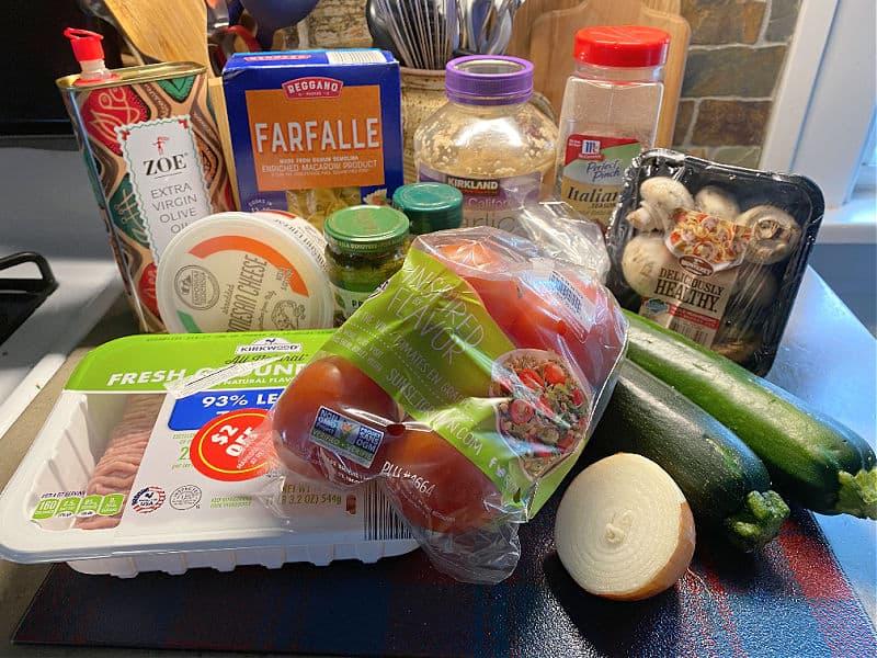ingredients for turkey zucchini pasta