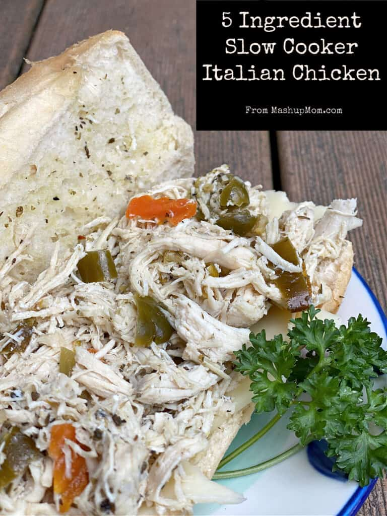 So easy to throw into the Crock-Pot and go: 5 Ingredient Slow Cooker Italian Chicken gets most of its flavor from giardiniera!