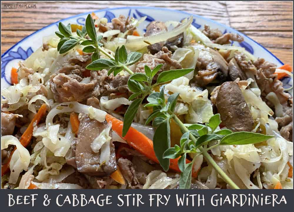 Beef & Cabbage Stir Fry with Giardiniera gives you a skillet full of fantastic flavor! Naturally gluten free and keto friendly.