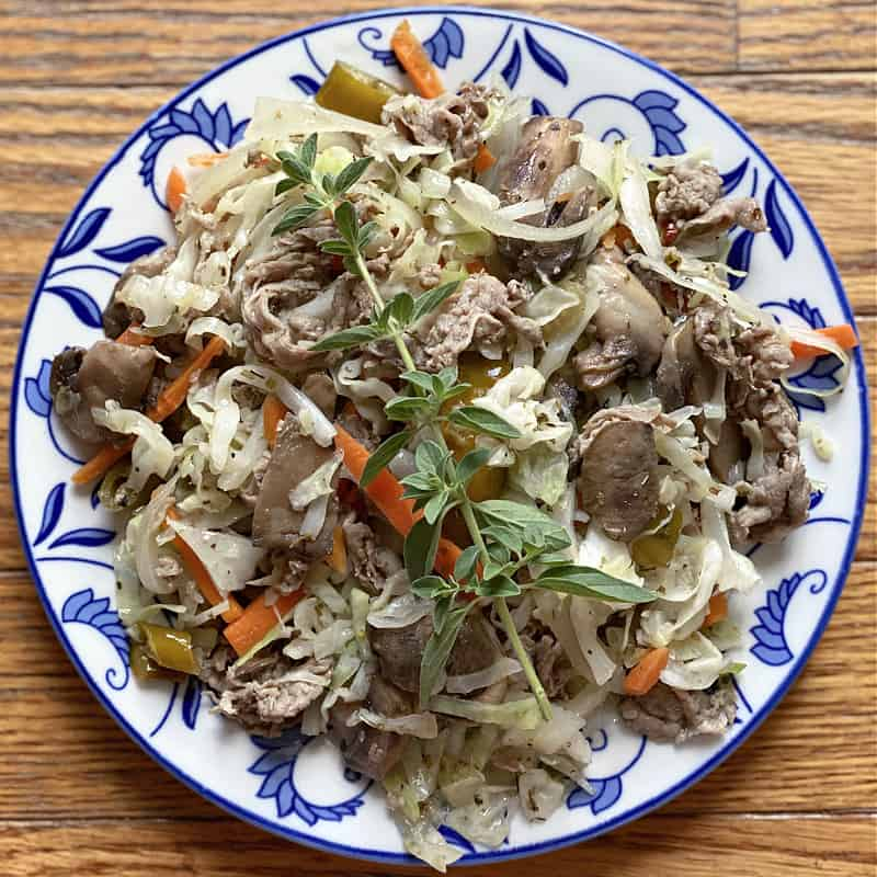 beef and cabbage stir fry with giardiniera