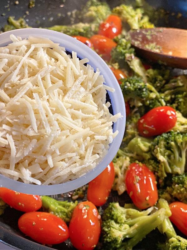 shredded parmesan, tomatoes, and broccoli