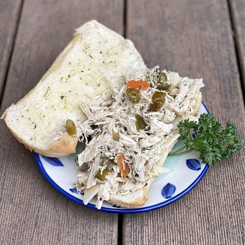 Pulled chicken sandwich with giardiniera