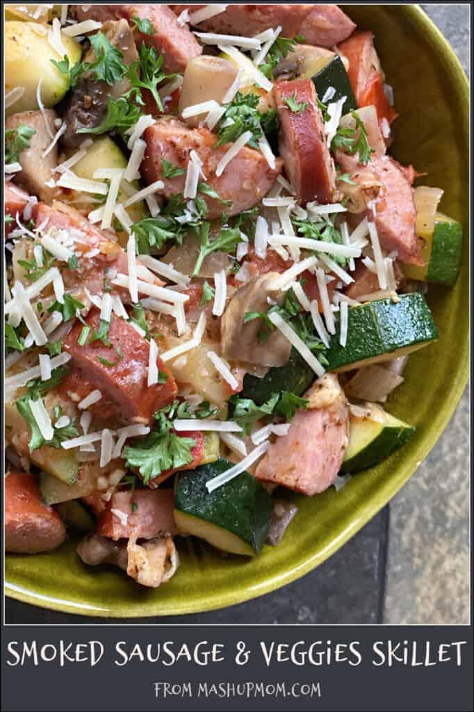 Smoked Sausage & Veggies Skillet is naturally gluten free & low carb!
