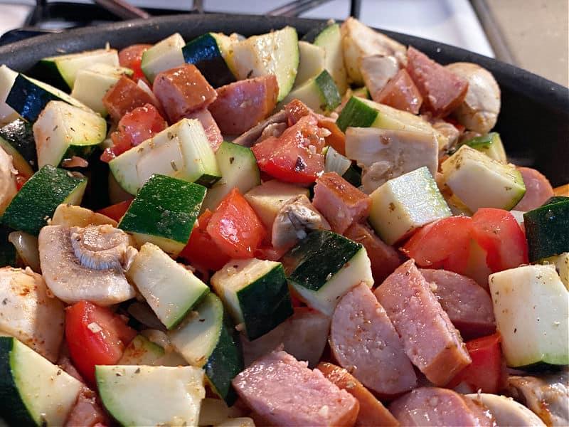 stir veggies into the skillet