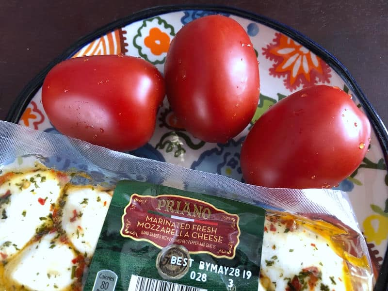 tomatoes and braided mozzarella