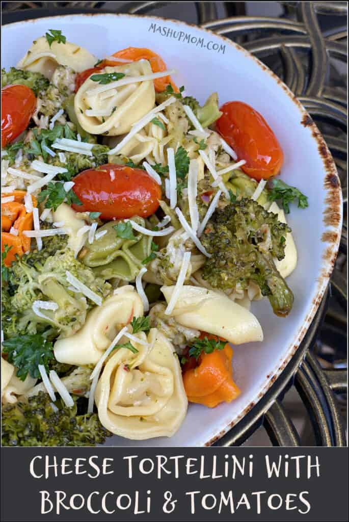Cheese Tortellini with Broccoli & Tomatoes is a simple 20 minute vegetarian recipe for your next Meatless Monday.