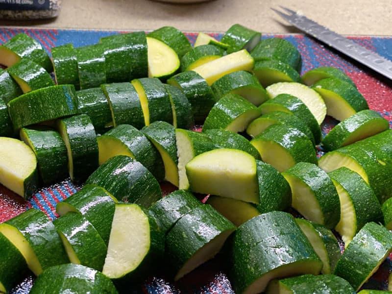 chop up the zucchini
