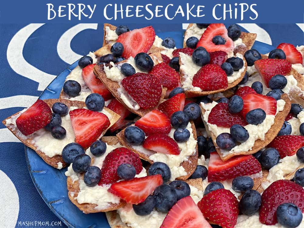 Berry cheesecake chips is an easy red-white-and-blue dessert recipe!