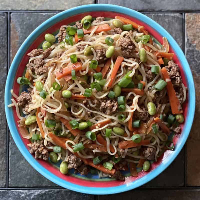 plate of ramen stir fry with ground beef