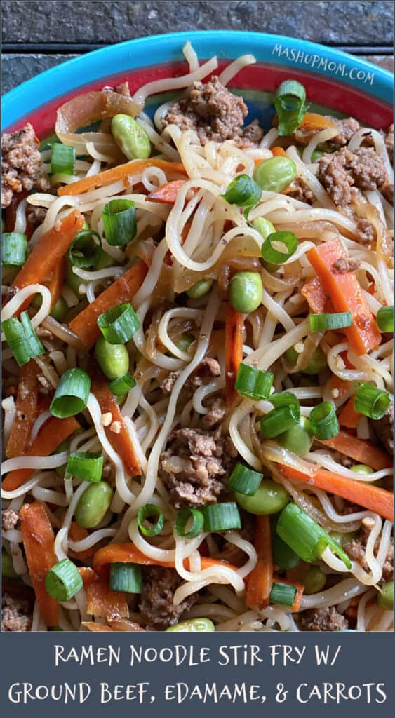 Ramen noodle stir fry with ground beef, edamame, and carrots