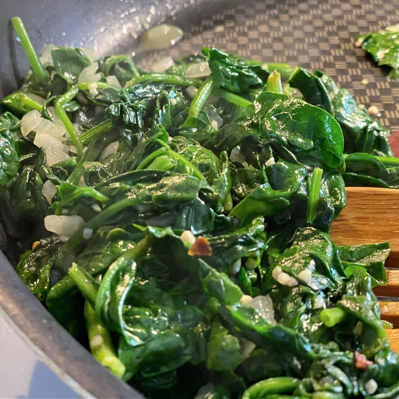 dark green sauteed spinach