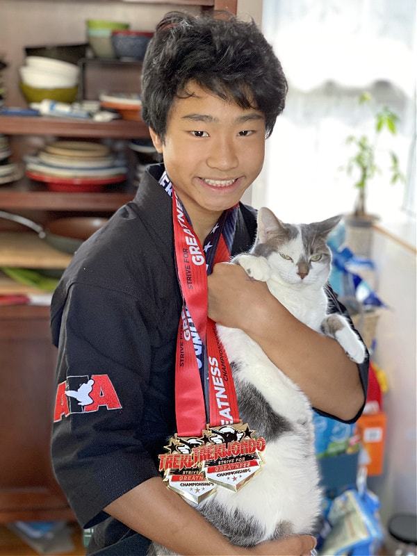 cat with taekwondo medals