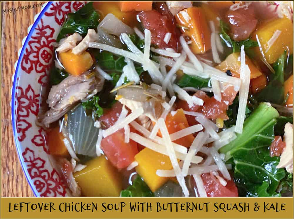 bowl of chicken soup with butternut squash and kale