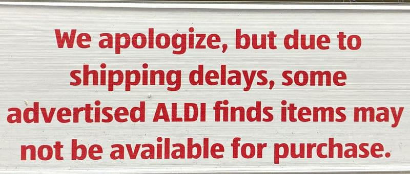 shipping delays at aldi