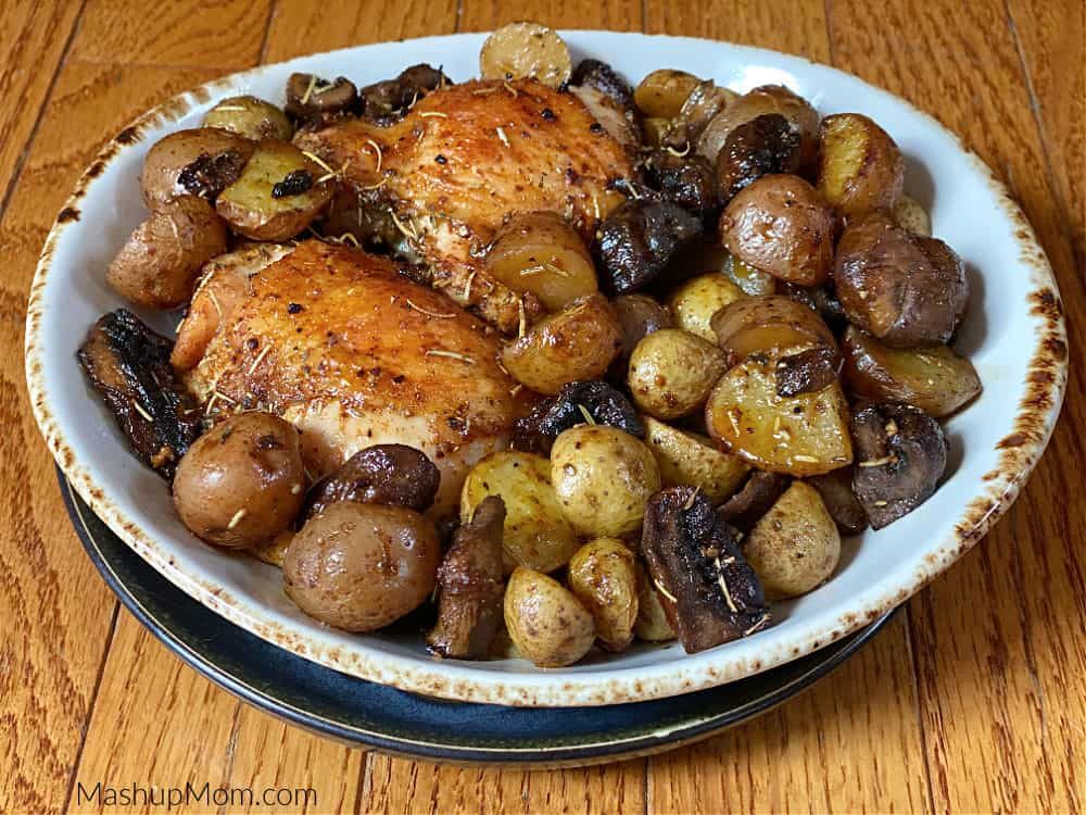 Sheet pan chicken thighs with mushrooms and potatoes