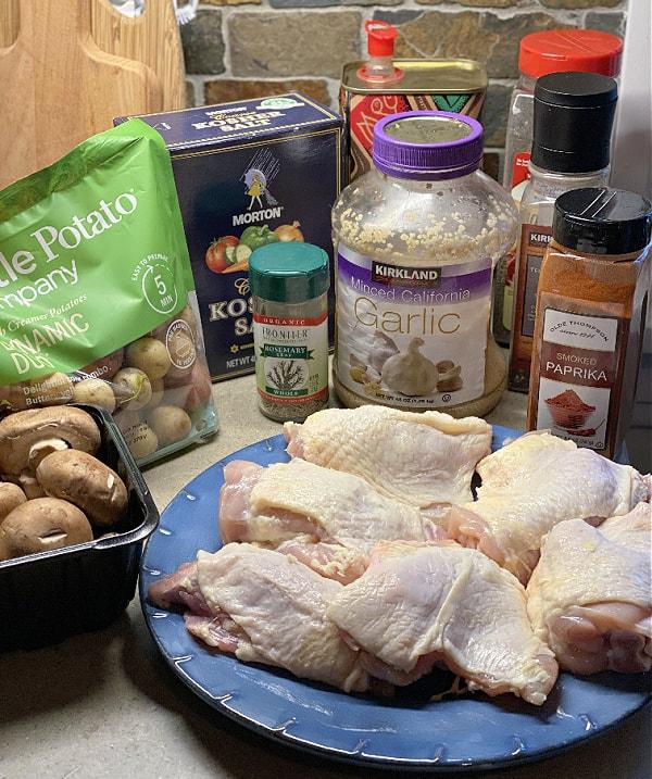 chicken, potatoes, and mushrooms ingredients