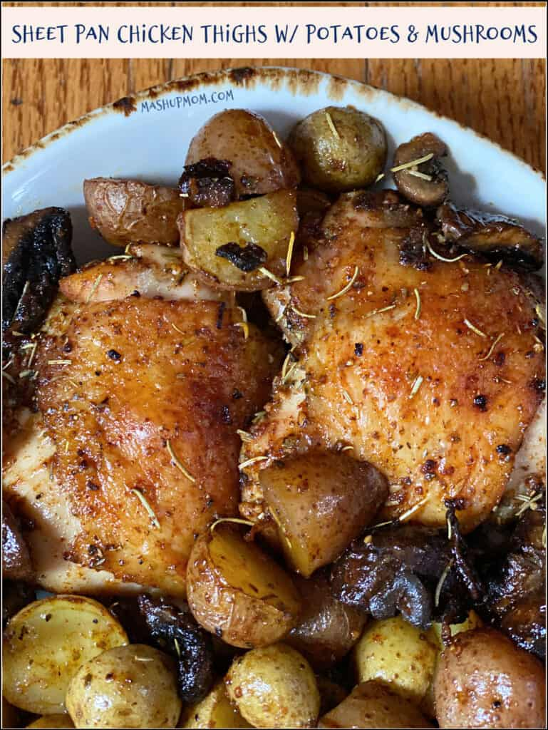 Plate of chicken, mushrooms, and potatoes
