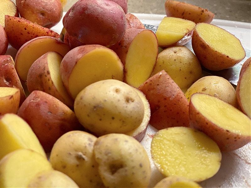 cut the little potatoes